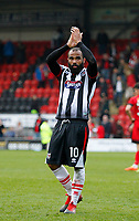 Grimsby Town's Dominic Vose applauds the support during the Sky Bet League 2 match between Leyton Orient and Grimsby Town at the Matchroom Stadium, London, England on 11 March 2017. Photo by Carlton Myrie / PRiME Media Images.
