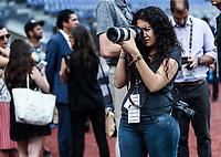 Jimena Tetzahuitl Mu&ntilde;oz, fotograf&iacute;a de Charros de Jalisco, previo al partido Mexico vs Italia, durante Cl&aacute;sico Mundial de Beisbol en el Estadio de Charros de Jalisco.<br /> Guadalajara Jalisco a 9 Marzo 2017 <br /> Photo: NortePhoto.com/Luis Gutierrez)