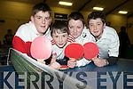 Enjoying the U15 county community games table tennis finals in St Marys Parish Hall on Friday night were David O'Donoghue, Christy Barrett, Gearoid Kelly and Michael Shine, knocknagoshel.