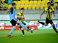 Michael McGlinchey shoots for goal during the A-League football match between Wellington Phoenix and Sydney FC at Westpac Stadium in Wellington, New Zealand on Saturday, 23 December 2017. Photo: Dave Lintott / lintottphoto.co.nz