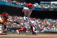 SAN FRANCISCO, CA - MAY 16:  Billy Hamilton #6 of the Cincinnati Reds bats against the San Francisco Giants during the game at AT&T Park on Wednesday, May 16, 2018 in San Francisco, California. (Photo by Brad Mangin)