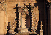 Niche and ornamentation of the baroque main facade, cathedral of Tortosa dedicated to Santa Maria, 14th - 16 th century, Tortosa, Tarragona, Spain. This portal was designed by Marti Abaria in 1625 but construction was not carry out until the following century between the years 1728 and 1757. Picture by Manuel Cohen.
