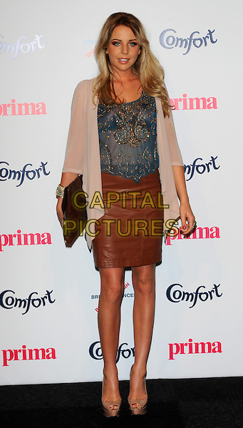 Lydia Rose Bright.Prima High Street Fashion Awards, Battersea Evolutions, Battersea Park, London, England..September 8th, 2011.full length brown leather skirt blue top sheer beige cardigan clutch bag.CAP/CJ.©Chris Joseph/Capital Pictures.
