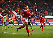 24th March 2018, The Valley, London, England;  English Football League One, Charlton Athletic versus Plymouth Argyle; Michal Zyro of Charlton Athletic celebrates scoring his sides 2nd goal in the 17th minute by tucking the match ball under his shirt to make it 2-0