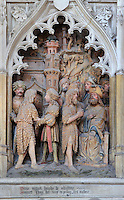 The arrest of St John and St John before Herod, polychrome high relief in the second row on the North side of the Gothic choir screen in the North ambulatory, 1490-1530, commissioned by canon Adrien de Henencourt and made by the sculptor Antoine Ancquier, depicting the life of St John the Baptist, at the Basilique Cathedrale Notre-Dame d'Amiens or Cathedral Basilica of Our Lady of Amiens, built 1220-70 in Gothic style, Amiens, Picardy, France. Amiens Cathedral was listed as a UNESCO World Heritage Site in 1981. Picture by Manuel Cohen