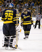Joe Cannata (Merrimack - 35), Stephane Da Costa (Merrimack - 24) - The Merrimack College Warriors defeated the University of New Hampshire Wildcats 4-1 (EN) in their Hockey East Semi-Final on Friday, March 18, 2011, at TD Garden in Boston, Massachusetts.