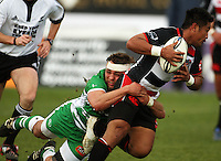 Manawatu flanker Doug Tietjens tackles Notise Tauafao in the buildup to Simon Lemalu's try during the Air NZ Cup rugby match between Manawatu Turbos and Counties-Manukau Steelers at FMG Stadium, Palmerston North, New Zealand on Sunday, 2 August 2009. Photo: Dave Lintott / lintottphoto.co.nz