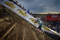 Alexander 'Moustache' Revell (NZL) up the steep sand slope <br /> <br /> UCI Worldcup Heusden-Zolder Limburg 2013