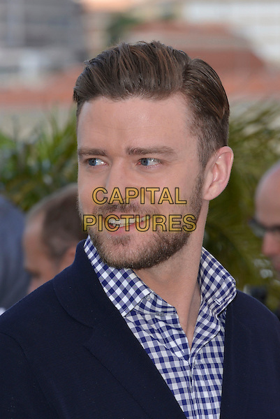Justin Timberlake.'Inside Llewyn Davis' film photocall at the 66th  Cannes Film Festival, Cannes, France, 19th May 2013..portrait headshot blue and white gingham shirt checked jacket navy beard facial hair  smiling .CAP/PL.©Phil Loftus/Capital Pictures.