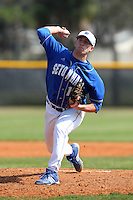 Joe DiRocco #18 of the Seton Hall Pirates during a game vs the Iowa Hawkeyes at the Big East-Big Ten Challenge at Walter Fuller Complex in St. Petersburg, Florida;  February 20, 2011.  Seton Hall defeated Iowa 2-0.  Photo By Mike Janes/Four Seam Images