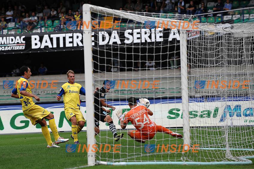 """Gol di Hernanes Lazio 0-3.Goal celebration.Verona 16/9/2012 Stadio """"Bentegodi"""".Football Calcio Serie A 2012/2013.Chievo Vs Lazio.Foto Andrea Staccioli Insidefoto"""