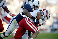 STATE COLLEGE, PA - SEPTEMBER 30:  Penn State LB Jason Cabinda (40) hits and tackles Indiana RB Devonte Williams (2). The Penn State Nittany Lions defeated the Indiana Hoosiers 45-14 on September 2, 2017 at Beaver Stadium in State College, PA. (Photo by Randy Litzinger/Icon Sportswire)