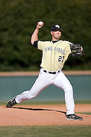 Brad Kledzik (27) of the Wake Forest Demon Deacons in action versus the Clemson Tigers during the second game of a double header at Gene Hooks Stadium in Winston-Salem, NC, Sunday, March 9, 2008.