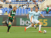 1st October 2017, Stadio Olimpico, Rome, Italy; Serie A football, Lazio versus Sassuolo; Ciro Immobile breaks away from the challenge from Timo Letschert