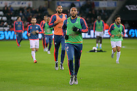 Ashley Williams of Swansea leads the players off the pitch before the Barclays Premier League match between Swansea City and Leicester City at the Liberty Stadium, Swansea on December 05 2015