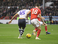 Preston North End's Lukas Nmecha gets a shot on goal<br /> <br /> Photographer Mick Walker/CameraSport<br /> <br /> The EFL Sky Bet Championship - Nottingham Forest v Preston North End - Saturday 8th December 2018 - The City Ground - Nottingham<br /> <br /> World Copyright © 2018 CameraSport. All rights reserved. 43 Linden Ave. Countesthorpe. Leicester. England. LE8 5PG - Tel: +44 (0) 116 277 4147 - admin@camerasport.com - www.camerasport.com
