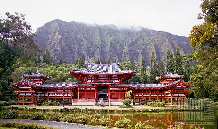 Valley of the Temples Byodo-In temple. Koolau mountain in background.