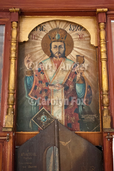 Icon of Christ on a iconostasis door, small private chapel,  Naoussa, Paros, Cyclades, Greece