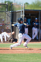 San Diego Padres shortstop Jarryd Dale (5) follows through on his swing during an Instructional League game against the Milwaukee Brewers at Peoria Sports Complex on September 21, 2018 in Peoria, Arizona. (Zachary Lucy/Four Seam Images)