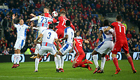 Tom Bradshaw of Wales (C) heads the bal off target during the international friendly soccer match between Wales and Panama at Cardiff City Stadium, Cardiff, Wales, UK. Tuesday 14 November 2017.