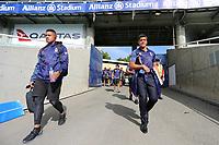 Coach Stephen Kearney (L) and the Warriors arrive. Sydney Roosters v Vodafone Warriors, NRL Rugby League. Allianz Stadium, Sydney, Australia. 31st March 2018. Copyright Photo: David Neilson / www.photosport.nz