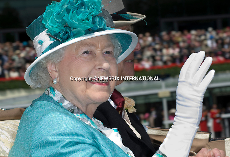 """QUEEN.on the first day of Royal Ascot 2010_15/06/2010.Mandatory Photo Credit: ©Dias/Newspix International..**ALL FEES PAYABLE TO: """"NEWSPIX INTERNATIONAL""""**..PHOTO CREDIT MANDATORY!!: NEWSPIX INTERNATIONAL(Failure to credit will incur a surcharge of 100% of reproduction fees)..IMMEDIATE CONFIRMATION OF USAGE REQUIRED:.Newspix International, 31 Chinnery Hill, Bishop's Stortford, ENGLAND CM23 3PS.Tel:+441279 324672  ; Fax: +441279656877.Mobile:  0777568 1153.e-mail: info@newspixinternational.co.uk"""