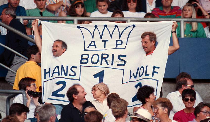 Photo. Steve Holland.Australian Open at Melbourne. 1991..Boris Becker fans.
