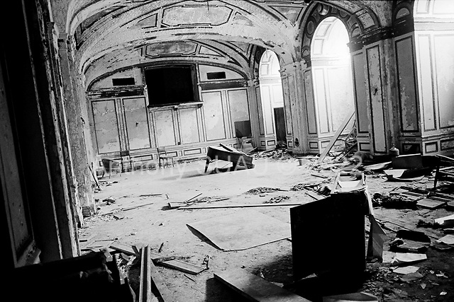 March 24, 2009<br /> Detroit, Michigan<br /> <br /> A piano sits in the once Grand Ballroom of the Lee Plaza building -designed and constructed in 1929. Once one of the most luxurious residential hotels in Detroit, Lee Plaza closed in the 1990s. During its' vacancy, much of the artwork, internal wiring, fixtures and valuable materials have been stolen.