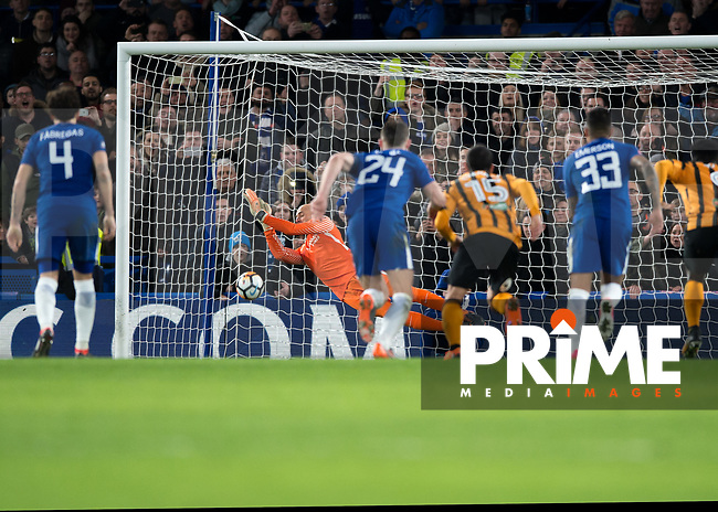 Wilfredo Caballero of Chelsea saves a penalty during the FA Cup 5th round match between Chelsea and Hull City at Stamford Bridge, London, England on 16 February 2018. Photo by Vince  Mignott / PRiME Media Images.
