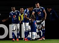 BOGOTA - COLOMBIA – 17 - 04 - 2018: Los jugadores de Millonarios (COL), celebran el tercer gol anotado a Deportivo Lara (VEN), durante partido entre Millonarios (COL) y Deportivo Lara (VEN), de la fase de grupos, grupo G, fecha 3 de la Copa Conmebol Libertadores 2018, en el estadio Nemesio Camacho El Campin, de la ciudad de Bogota. / The players of Millonarios (COL), celebrate the third scored goal to Deportivo Lara (VEN), during a match between Millonarios (COL) and Deportivo Lara (VEN), of the group stage, group G, 3rd date for the Conmebol Copa Libertadores 2018 in the Nemesio Camacho El Campin stadium in Bogota city. VizzorImage / Luis Ramirez / Staff.