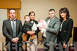 Baby Paige with her parents Katie & Eugene Sweeney, Moyvane and god parents Michael O'Connor & Denise Sweeney  and brother Ricky who was christened in St. Mary's Church, Listowel by Canon Declan O'Connor on Wednesday 28th December and afterwards at the Listowel Arms Hiotel.