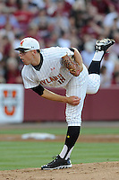 Starting pitcher Mike Shawaryn (18) of the Maryland Terrapins in an NCAA Division I Baseball Regional Tournament game against the South Carolina Gamecocks on Saturday, May 31, 2014, at Carolina Stadium in Columbia, South Carolina. Maryland won, 4-3. (Tom Priddy/Four Seam Images)