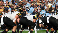 CHAPEL HILL, NC - SEPTEMBER 21: Tyrone Hopper #42 of the University of North Carolina looks over the line of scrimmage during a game between Appalachian State University and University of North Carolina at Kenan Memorial Stadium on September 21, 2019 in Chapel Hill, North Carolina.