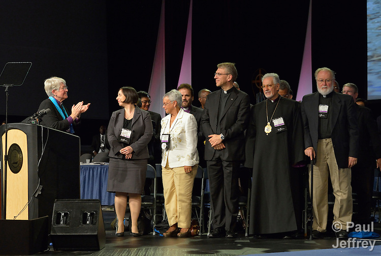 Ecumenical leaders from around the world were presented by Bishop Sharon Rader to a May 1 session of the United Methodist General Conference in Tampa, Florida. A UMNS photo by Paul Jeffrey.