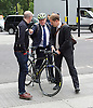Boris Johnson MP <br /> Mayor of London launches Britain&rsquo;s first Safer Lorry Scheme at Marble Arch, London, Great Britain <br /> 1st September 2015 <br /> <br /> Boris Johnson arriving - Andrew Gilligan - cycling commissioner on left - and press officer on right <br /> <br /> Safer lorries displayed at Marble Arch &amp; Boris Johnson outlines ways in which the scheme will be developed in the future. <br />  <br /> Under the new scheme, most vehicles which are currently exempt from national legislation for basic safety equipment will have to be retrofitted to drive on London&rsquo;s roads. This includes construction vehicles, which are involved in a disproportionate number of fatal collisions involving cyclists and pedestrians.<br /> <br /> Photograph by Elliott Franks <br /> Image licensed to Elliott Franks Photography Services