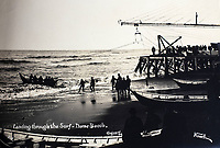 BNPS.co.uk (01202 558833)<br /> Pic: Elstob&Elstob/BNPS<br /> <br /> New arrivals landing through the icy surf on Nome beach in August 1904.<br /> <br /> Fascinating photos documenting the famous Alaska 'gold rush' have come to light 120 years later.<br /> <br /> Thousands of people chasing riches ventured into the North American wilderness after gold was discovered in Nome in 1899.<br /> <br /> Over the next decade a staggering 112 tonnes of gold was sourced.<br /> <br /> Unsurprisingly, everyone wanted a piece of the action, leading to a huge influx of people to the area.<br /> <br /> Its transformation into a thriving metropolis was documented by acclaimed American photographer Frank Nowell.