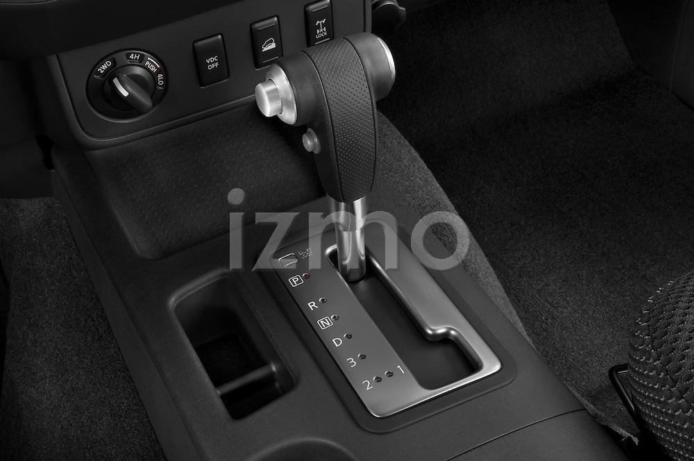 Gear shift detail view of a 2009 Nissan Xterra Off Road