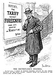"The Doctrinaire's Dilemma. Mr De Valera. ""I begin to wonder whether loyalty to the Empire wouldn't be the wiser course. Perhaps, after all, discretion is the better part of De Valera."" (De Valera lowers a banner with 'Up The Republic', in light of new poster 'Notice. The TARIFF against FOREIGNERS Come Into Operation on March 1st 1932. By Order.')"