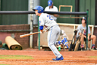 Kingsport Mets center fielder Jarred Kelenic (20) swings at a pitch during a game against the Elizabethton Twins at Joe O'Brien Field on August 7, 2018 in Elizabethton, Tennessee. The Twins defeated the Mets 16-10. (Tony Farlow/Four Seam Images)