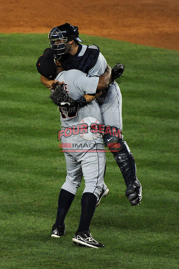 Detroit Tigers pitcher Jose Valverde #46 celebrates with teammate Alex Avila winning the ALDS game #5 against the New York Yankees at Yankee Stadium on October 06, 2011 in Bronx, NY.  Detroit defeated New York 3-2 to take the series 3 games to 2 games.  Tomasso DeRosa/Four Seam Images