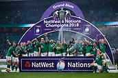 17th March 2018, Twickenham, London, England; NatWest Six Nations rugby, England versus Ireland; Ireland celebrate winning the Grand Slam and Six Nations Champsionship