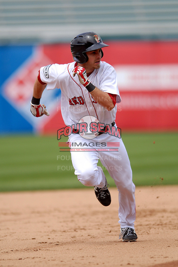 Outfielder Josh Reddick #24 of the Pawtucket Red Sox during a game versus the Gwinnett Braves on May 12, 2011 at McCoy Stadium in Pawtucket, Rhode Island. Photo by Ken Babbitt /Four Seam Images