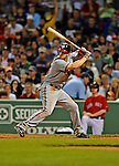 8 June 2012: Washington Nationals outfielder Bryce Harper sets for his homer in the 4th inning against the Boston Red Sox at Fenway Park in Boston, MA. The Nationals defeated the Red Sox 7-4 in the opening game of their 3-game series. Mandatory Credit: Ed Wolfstein Photo