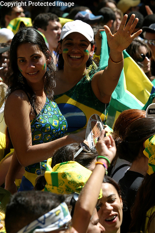 Rop:.Brazilians living in NY area were along 6th. Ave. and 46th. St. celebrating the Brazilian Independence day in Manhattan today..