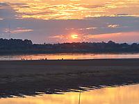 Laos. Mekong sunset at Vientiane.