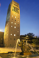 Ann Arbor, MI, Michigan, Burton Memorial Tower houses the Baird Carillon on the Central Campus of the University of Michigan in Ann Arbor in the evening.