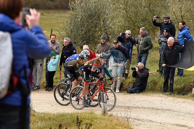 Michal Kwiatkowski (POL) Team Sky, Greg Van Avermaet (BEL) BMC and Zdenek Stybar (CZE) Quick-Step Floors climb gravel sector 11 Le Tolfe during the 2017 Strade Bianche running 175km from Siena to Siena, Tuscany, Italy 4th March 2017.<br /> Picture: La Presse/Fabio Ferrari | Newsfile<br /> <br /> <br /> All photos usage must carry mandatory copyright credit (&copy; Newsfile | La Presse)