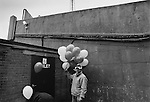 Celebratory balloons outside the East Stand, Boro v Luton 30th April 1995. Photo by Paul Thompson