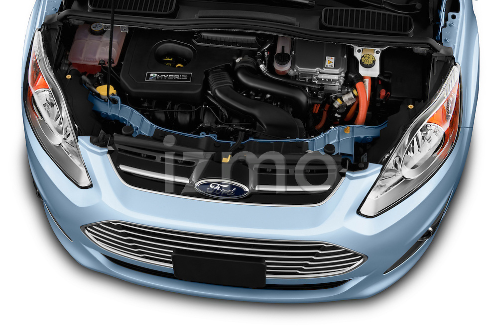 High angle engine detail of 2013 Ford C Max Hybrid SEL Stock Photo