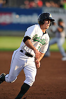 Second baseman Andy Peterson #3 of the Clinton LumberKings rounds third base against the South Bend Silver Hawks at Ashford University Field on July 26, 2014 in Clinton, Iowa. The Sliver Hawks won 2-0.   (Dennis Hubbard/Four Seam Images)